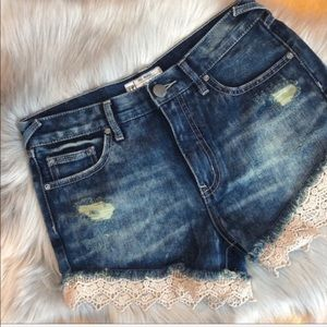 Free People Denim Cuttoff Shorts with Lace